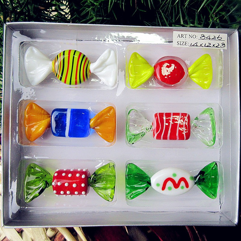 Christmas Glass Candy  6 PCS new custom antique hand blown art glass sweets