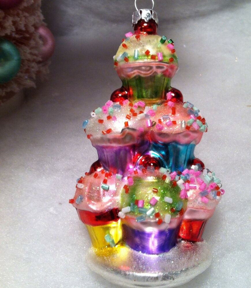Christmas Glass Candy  cupcake w candy sprinkles Tier Christmas Tree Ornament