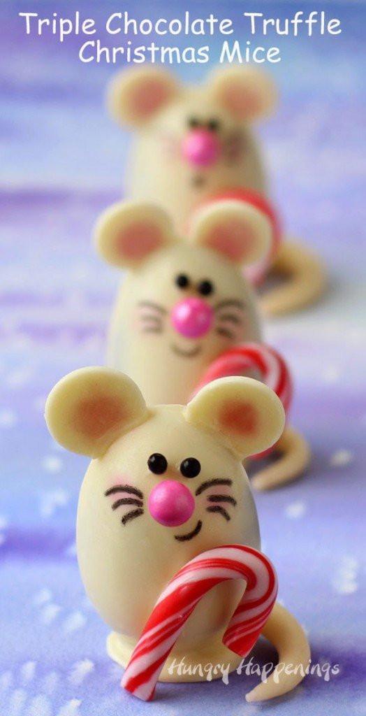 Christmas Mice Candy  Triple Chocolate Truffle Christmas Mice made with Silk