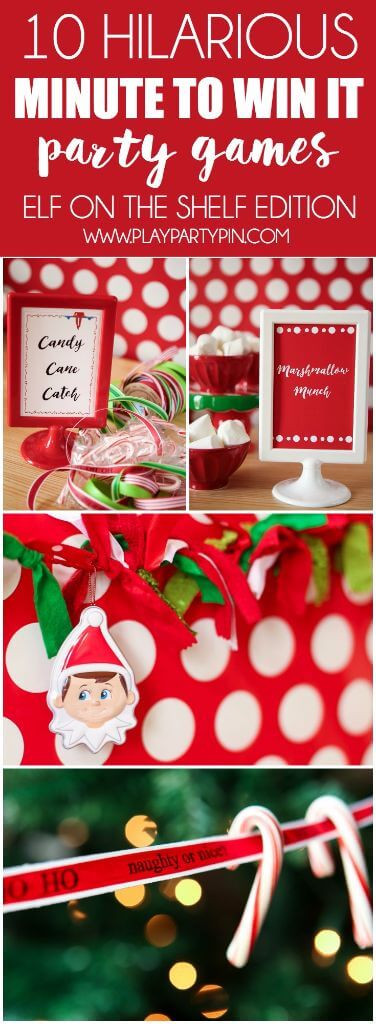 Christmas Minute To Win It Games Candy Cane  Elf on the Shelf Ideas for Saying Goodbye Play Party Plan