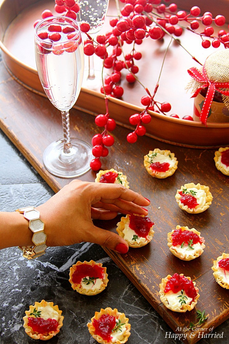 Christmas Party Appetizers Finger Foods  Cranberry & Cream Cheese Mini Phyllo Bites Christmas