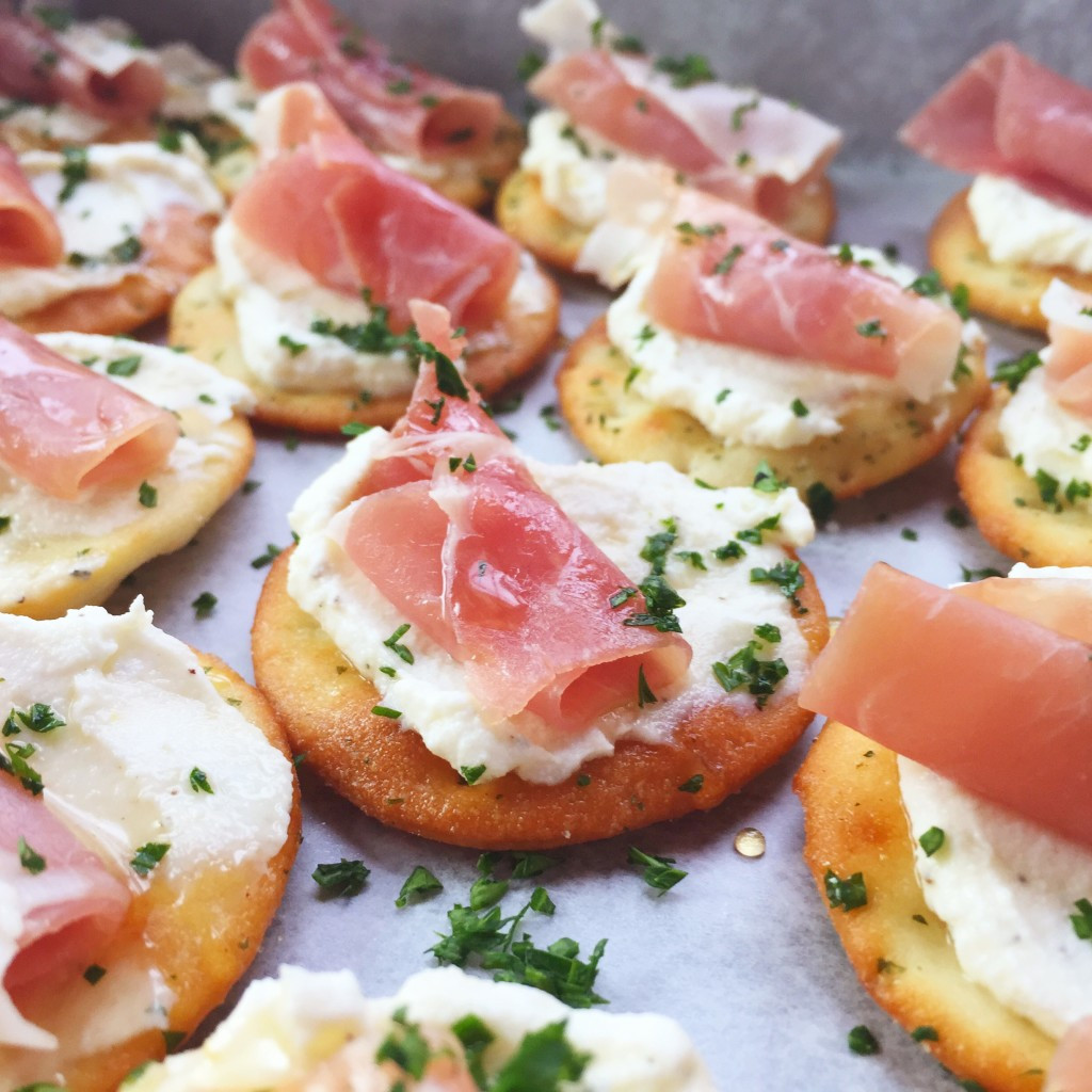 Christmas Party Appetizers Recipes  Ricotta and Prosciutto Cracker Appetizer Seasonly Creations