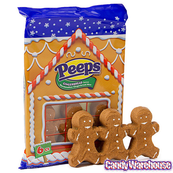Christmas Peeps Candy  Peeps Marshmallow Gingerbread Men Candy 6 Packs 24 Piece