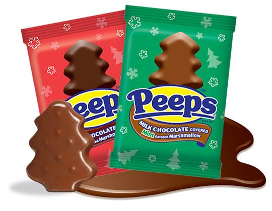 Christmas Peeps Candy  Milk Dark Chocolate Covered Christmas Tree Peep