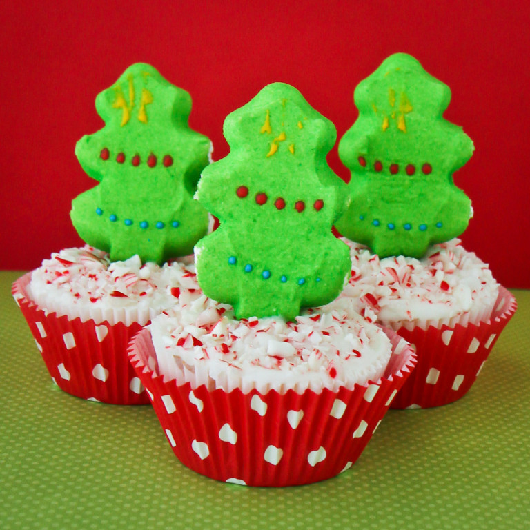 Christmas Peeps Candy  PEEPS Christmas Tree Cupcakes With Candy Cane Frosting