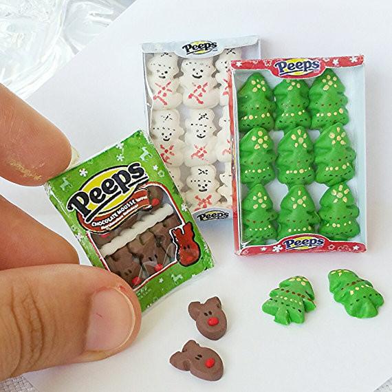 Christmas Peeps Candy  Set of dollhouse miniature Christmas Peeps can s scale 1 12