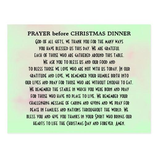 Christmas Prayers For Dinners  Prayer before Christmas Dinner Postcard