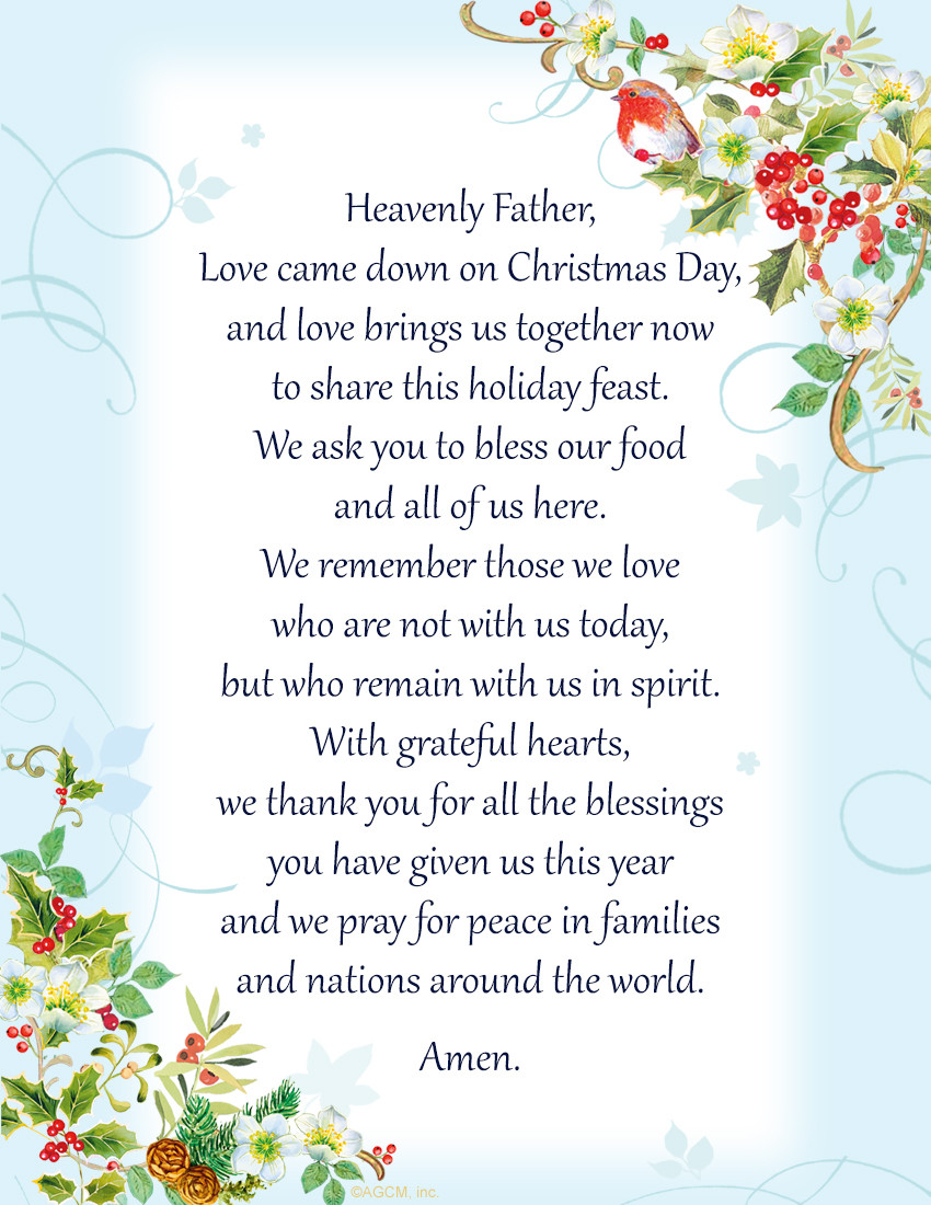 Christmas Prayers For Dinners  Christmas Bible Verses & Blessings