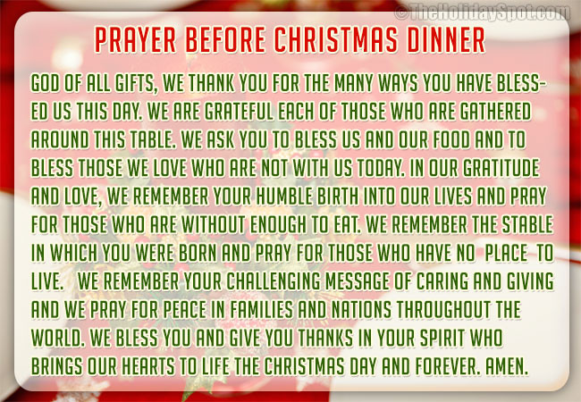 Christmas Prayers For Dinners  Christmas Dinner Prayers