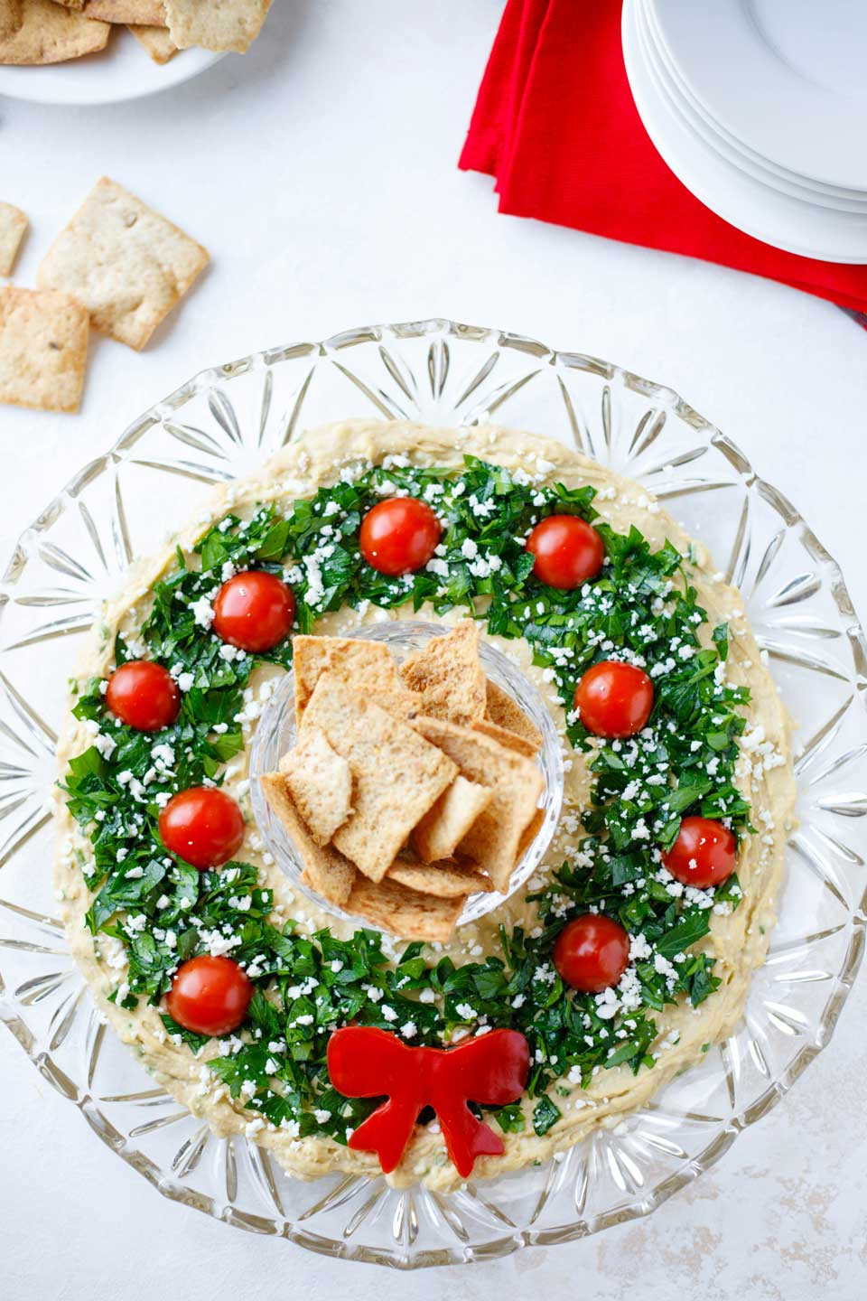 "Christmas Recipes Appetizers  Easy Christmas Appetizer ""Hummus Wreath"" Two Healthy"
