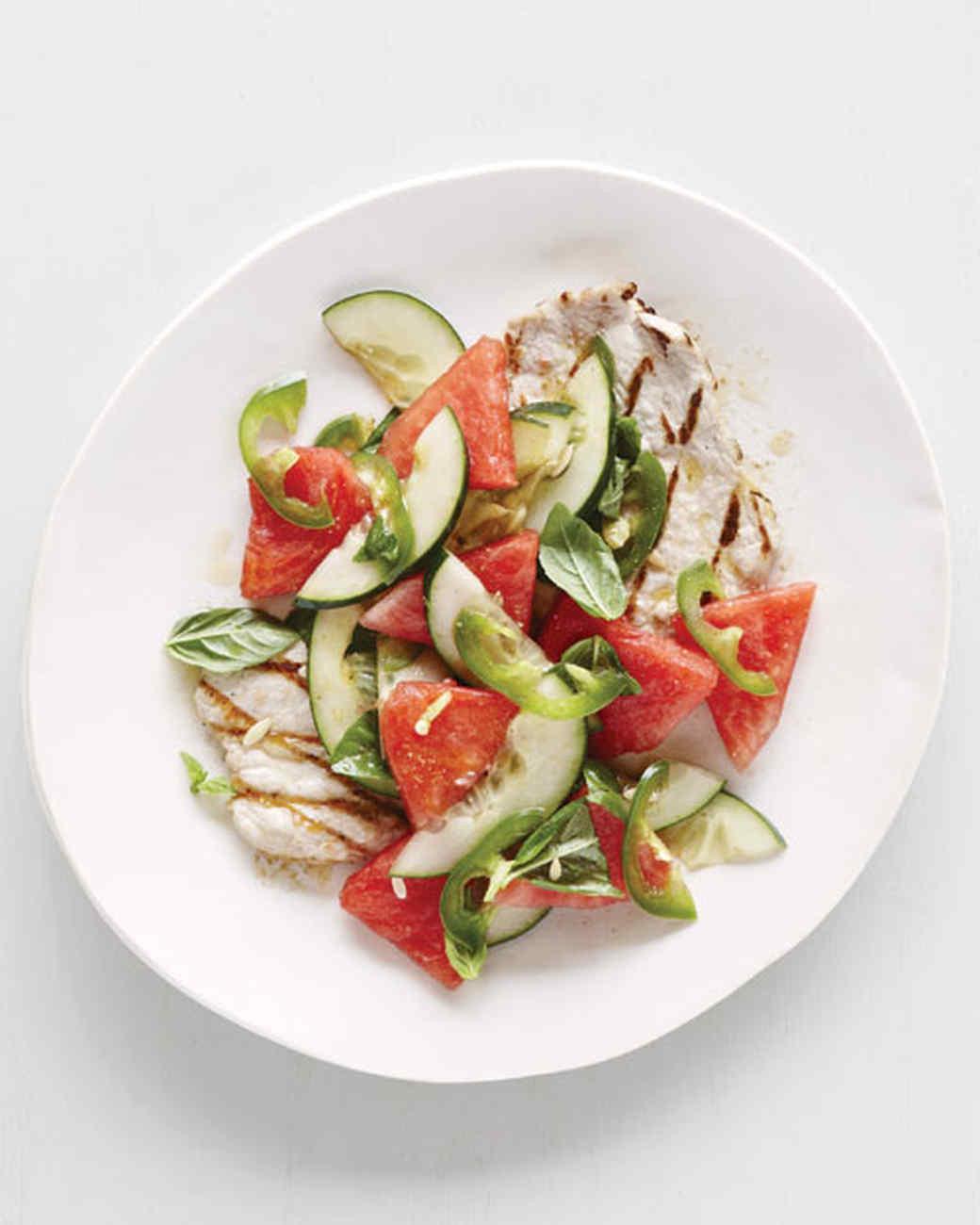 Christmas Salads Martha Stewart  Grilled Pork Cutlets with Watermelon Cucumber Salad Recipe