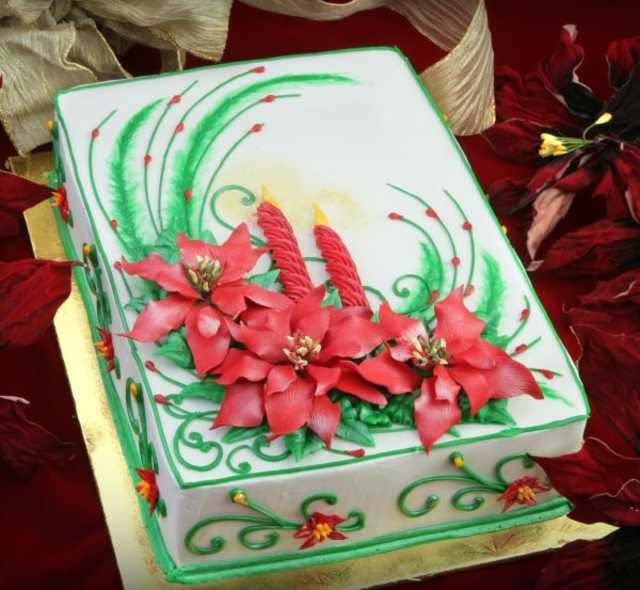 Christmas Sheet Cake  Poinsettia Cake