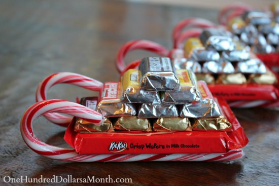 Christmas Sleigh Candy Craft  Easy Kids Christmas Candy Crafts – Candy Cane Sleigh e