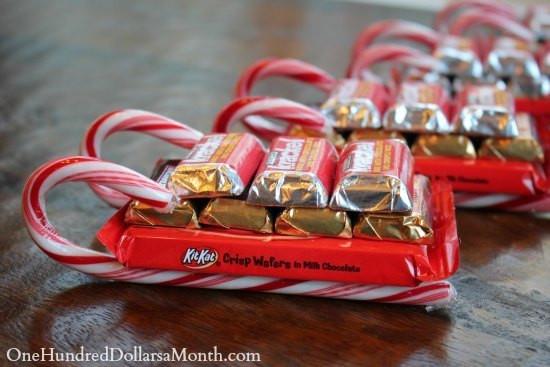 Christmas Sleigh Candy Craft  Easy Kids Christmas Candy Crafts – Candy Cane Sleigh