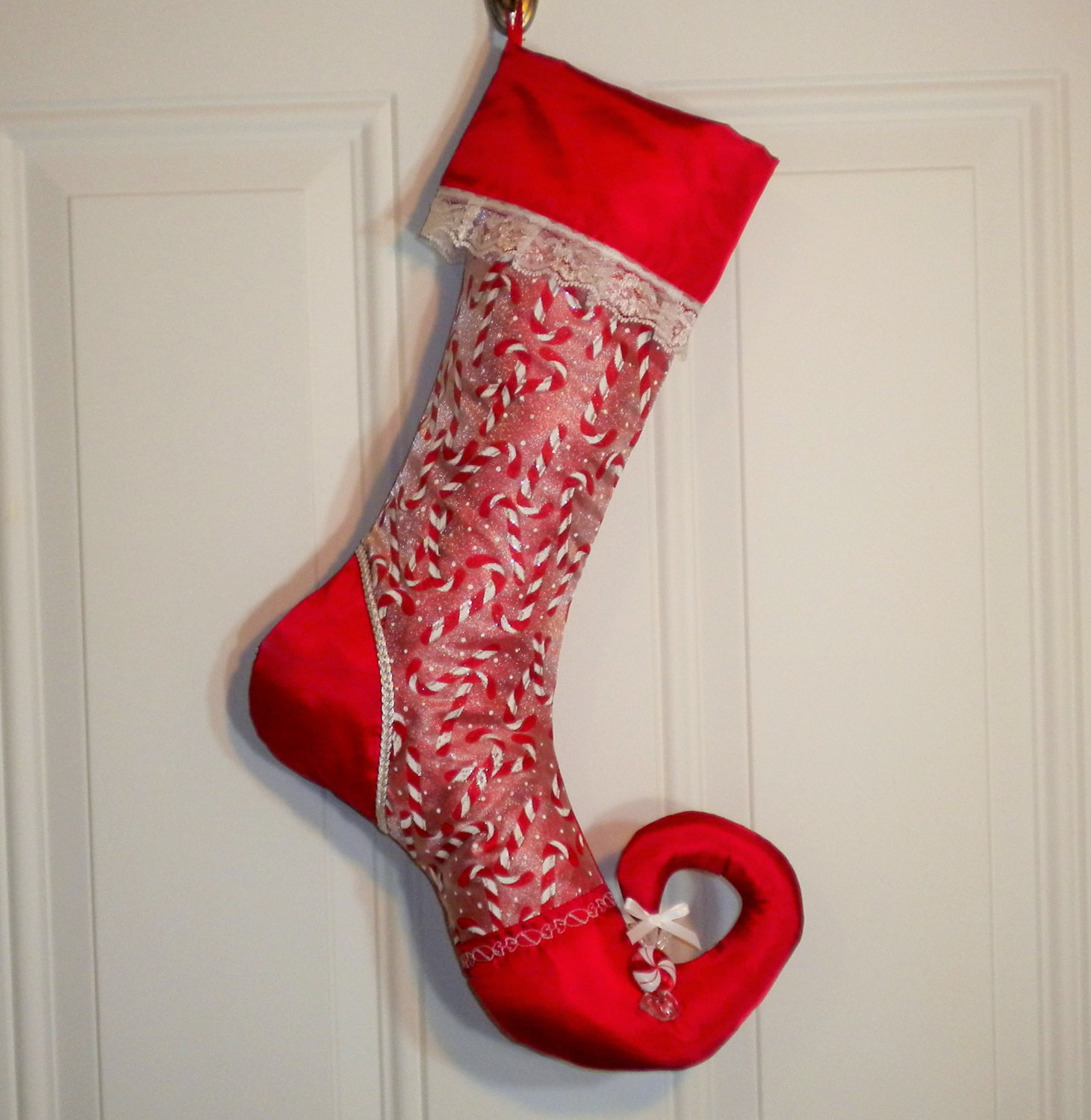 Christmas Stocking Candy  Christmas Stocking in Glittery Candy Canes by