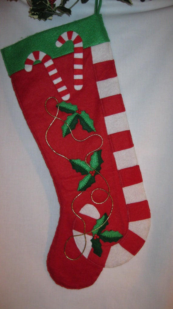 Christmas Stocking Candy  Handmade red felt Christmas stocking with candy canes and