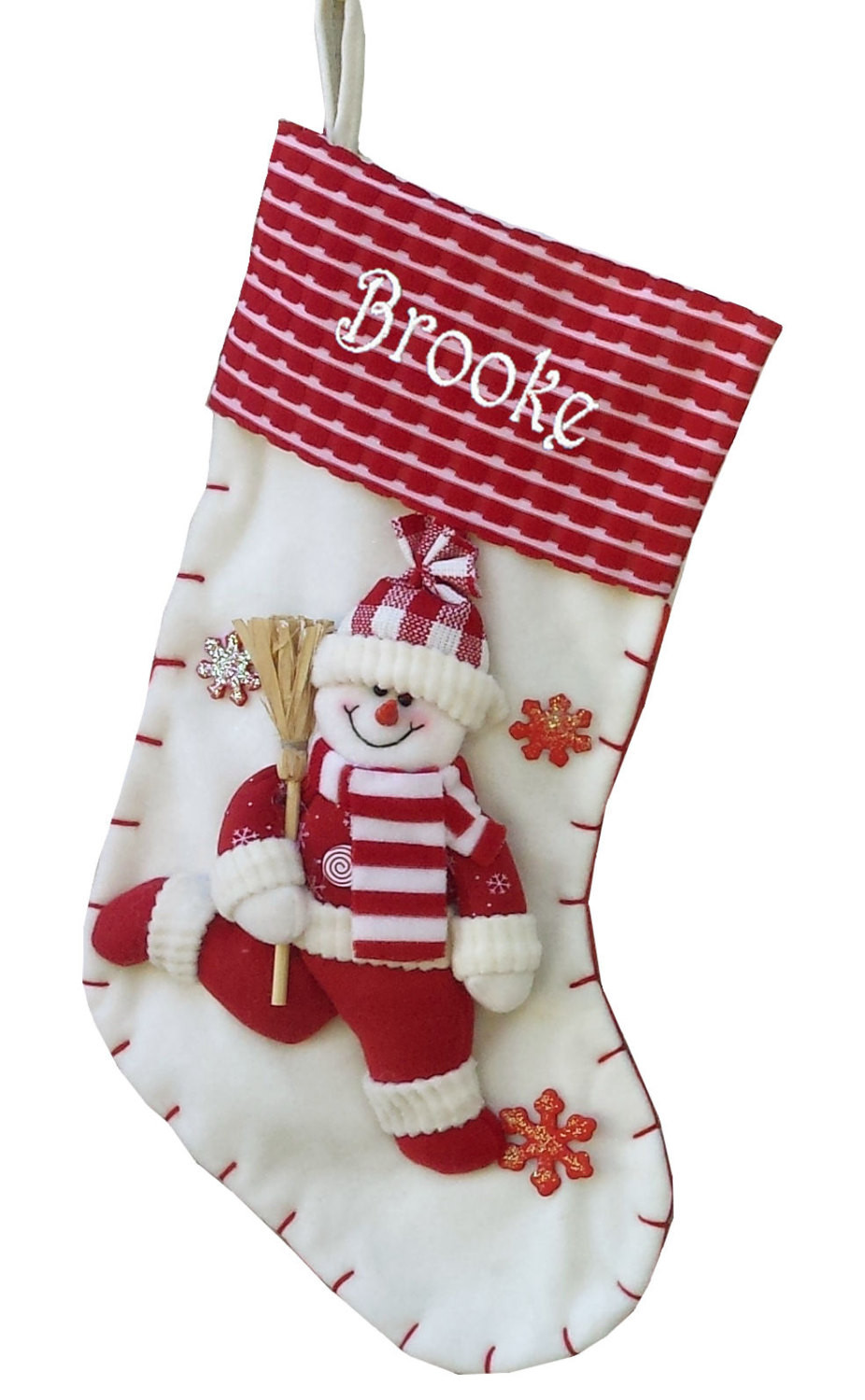 """Christmas Stocking Candy  19"""" Red and White Candy Cane Like Snowman Christmas Stocking"""