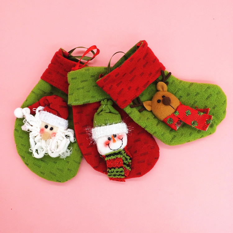 Christmas Stocking Candy  Christmas Tree Decoration Xmas Santa Snowman Stockings Bag