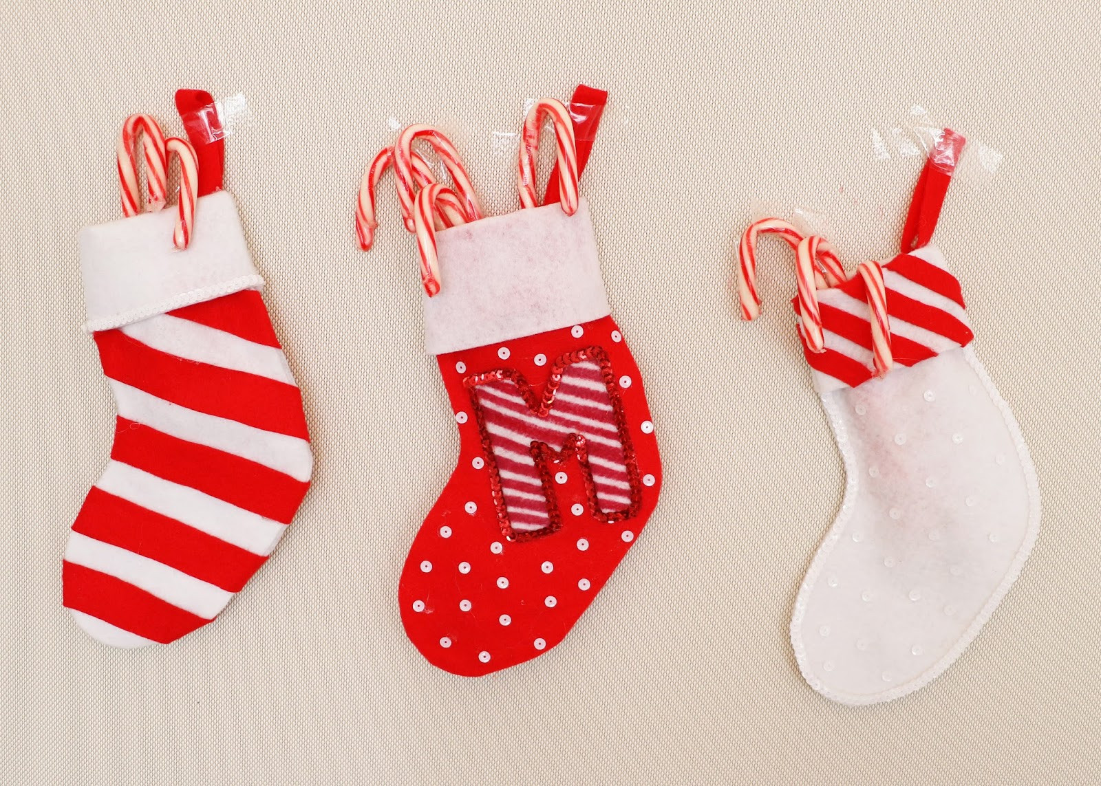 Christmas Stocking Candy  Sew Candy canes and Unique on Pinterest