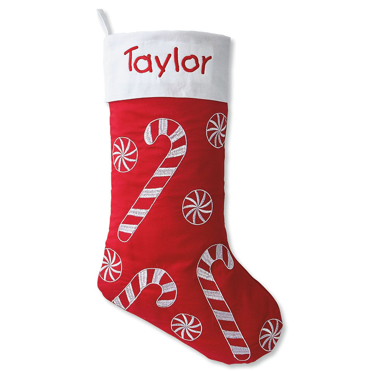 Christmas Stocking Candy  Candy Cane and Peppermint Fabric Stocking