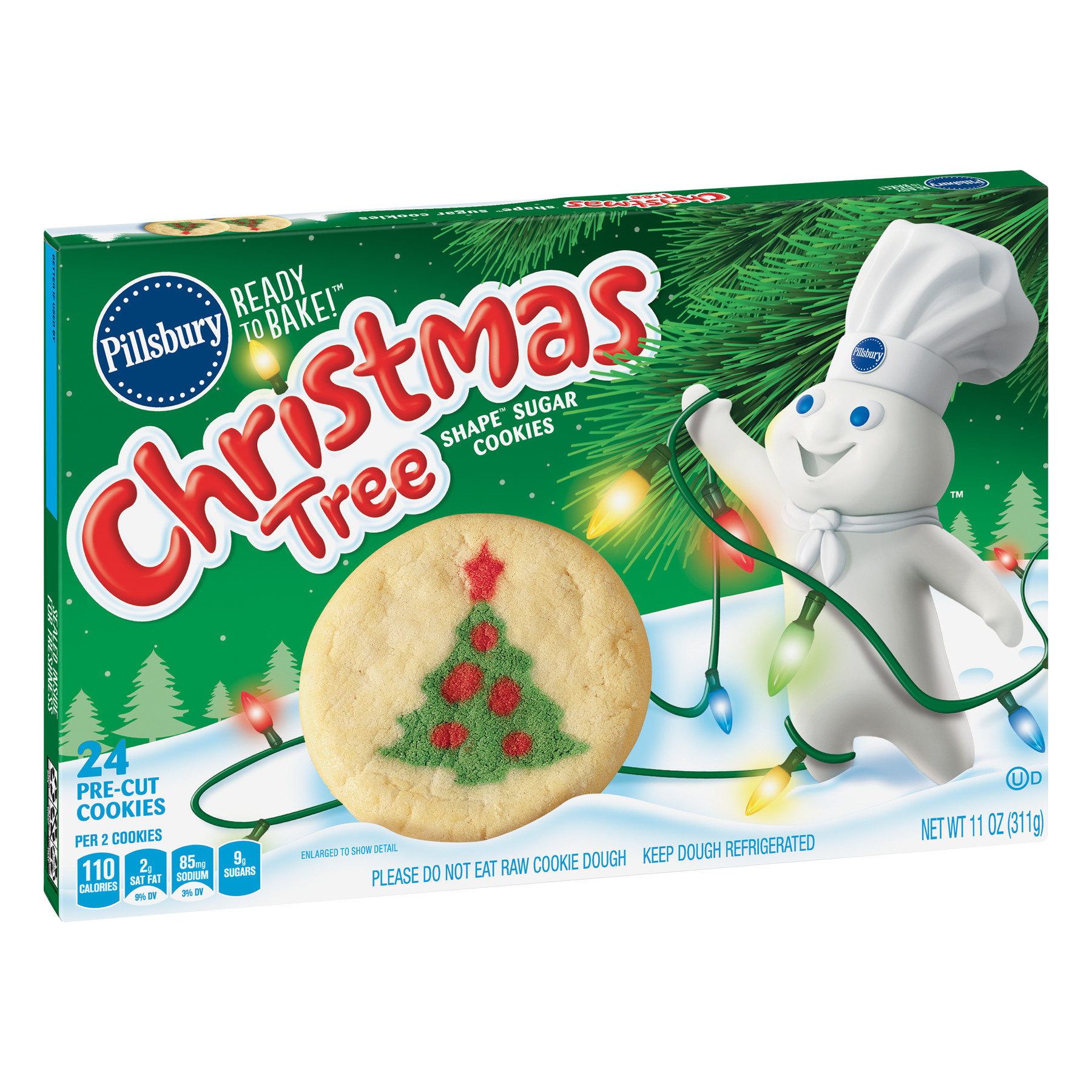 Christmas Sugar Cookies Walmart  Pillsbury Ready to Bake Christmas Tree Shape Sugar