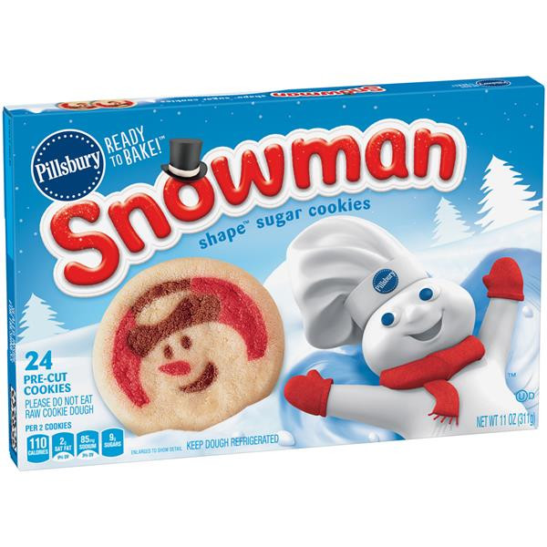 Christmas Sugar Cookies Walmart  Pillsbury Ready to Bake Snowman Shape Sugar Cookies