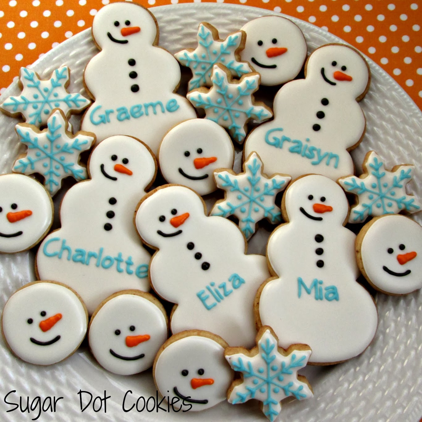 Christmas Sugar Cookies With Royal Icing  Snowman heads and mini flakes