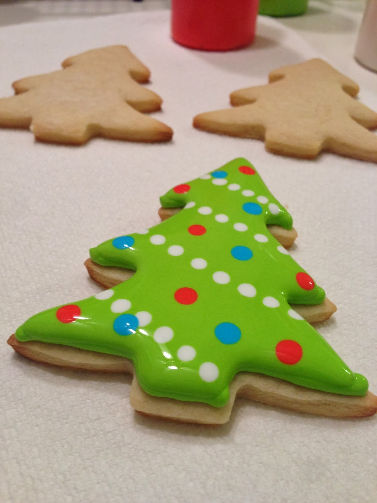Christmas Sugar Cookies With Royal Icing  monograms & cake Christmas Cut Out Sugar Cookies with