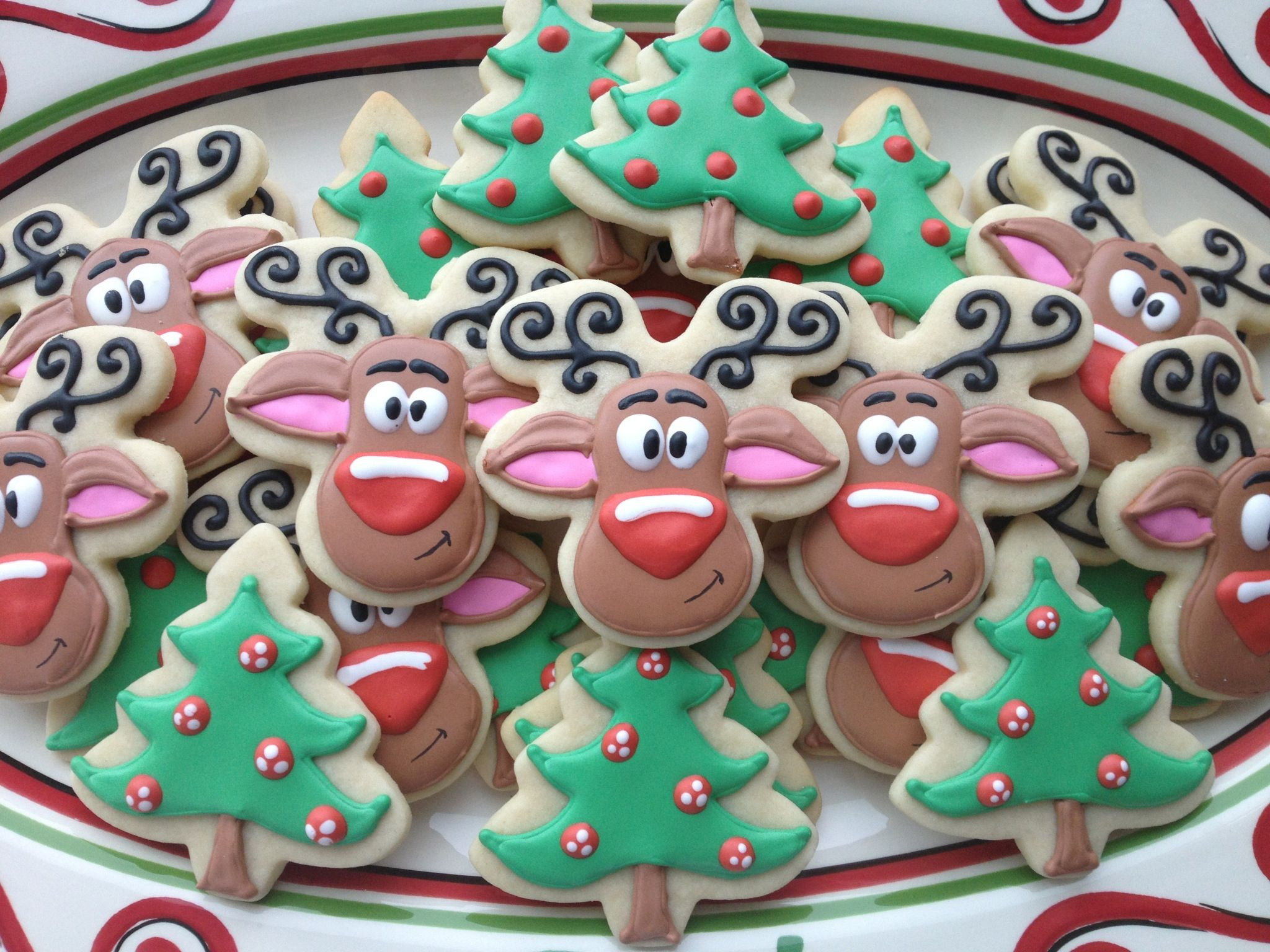 Christmas Sugar Cookies With Royal Icing  Christmas Cookies Rudolph sugar cookies with royal icing