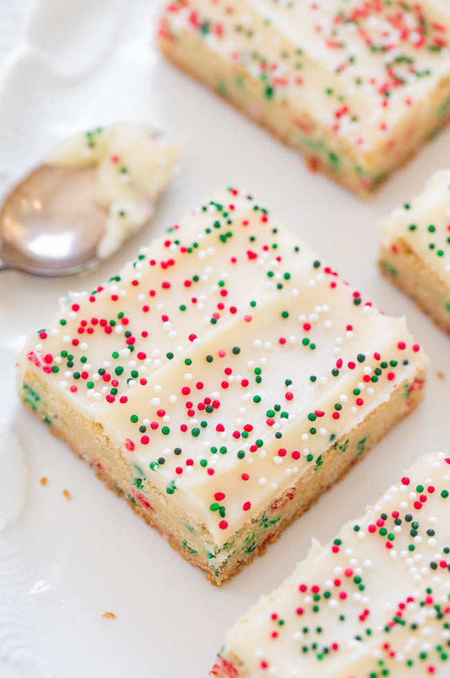 Christmas Sugar Cookies With Sprinkles  Holiday Sugar Cookie Bars with Cream Cheese Frosting
