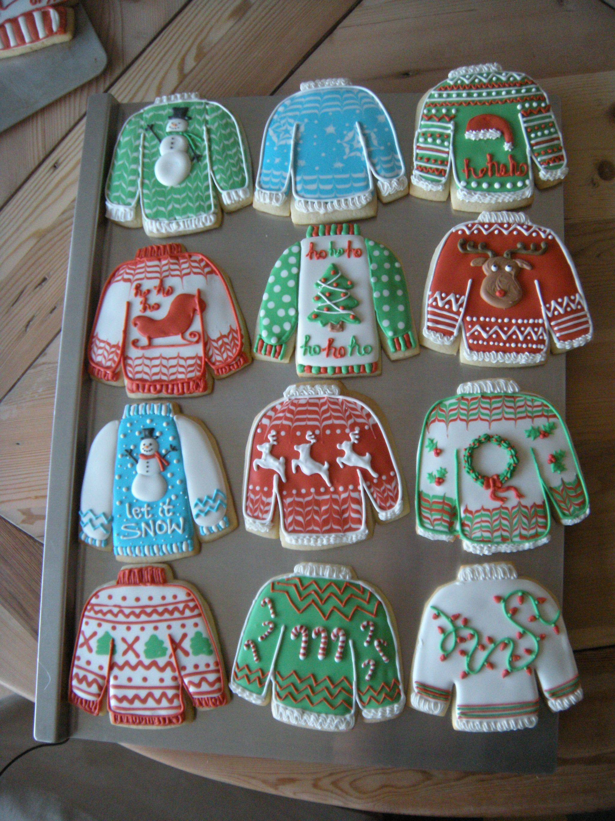 "Christmas Sweater Cookies  I decided to try some ""ugly Christmas sweater"" cookies"