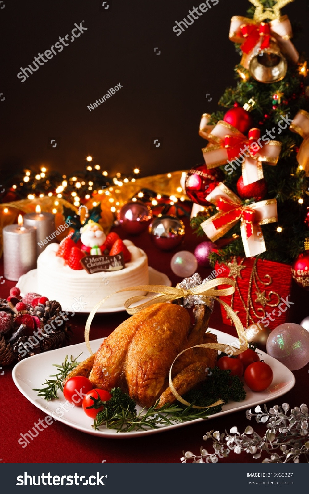 Christmas Theme Dinners  Christmas Themed Dinner Table Stock