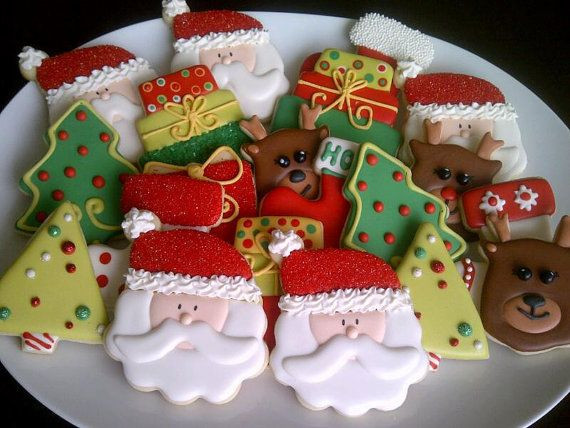 Christmas Themed Cookies  Santa Christmas Themed Decorated Sugar Cookies