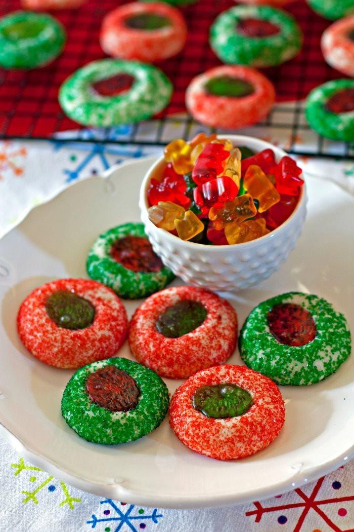 Christmas Thumbprint Cookies  Gummy Bear Thumbprint Cookies • Food Folks and Fun