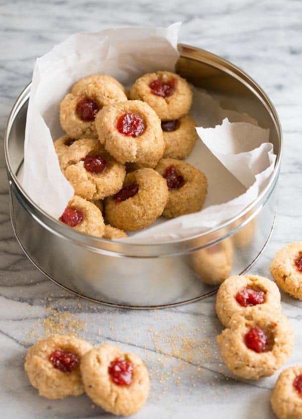 Christmas Thumbprint Cookies Recipe  linzer thumbprint cookies Healthy Seasonal Recipes