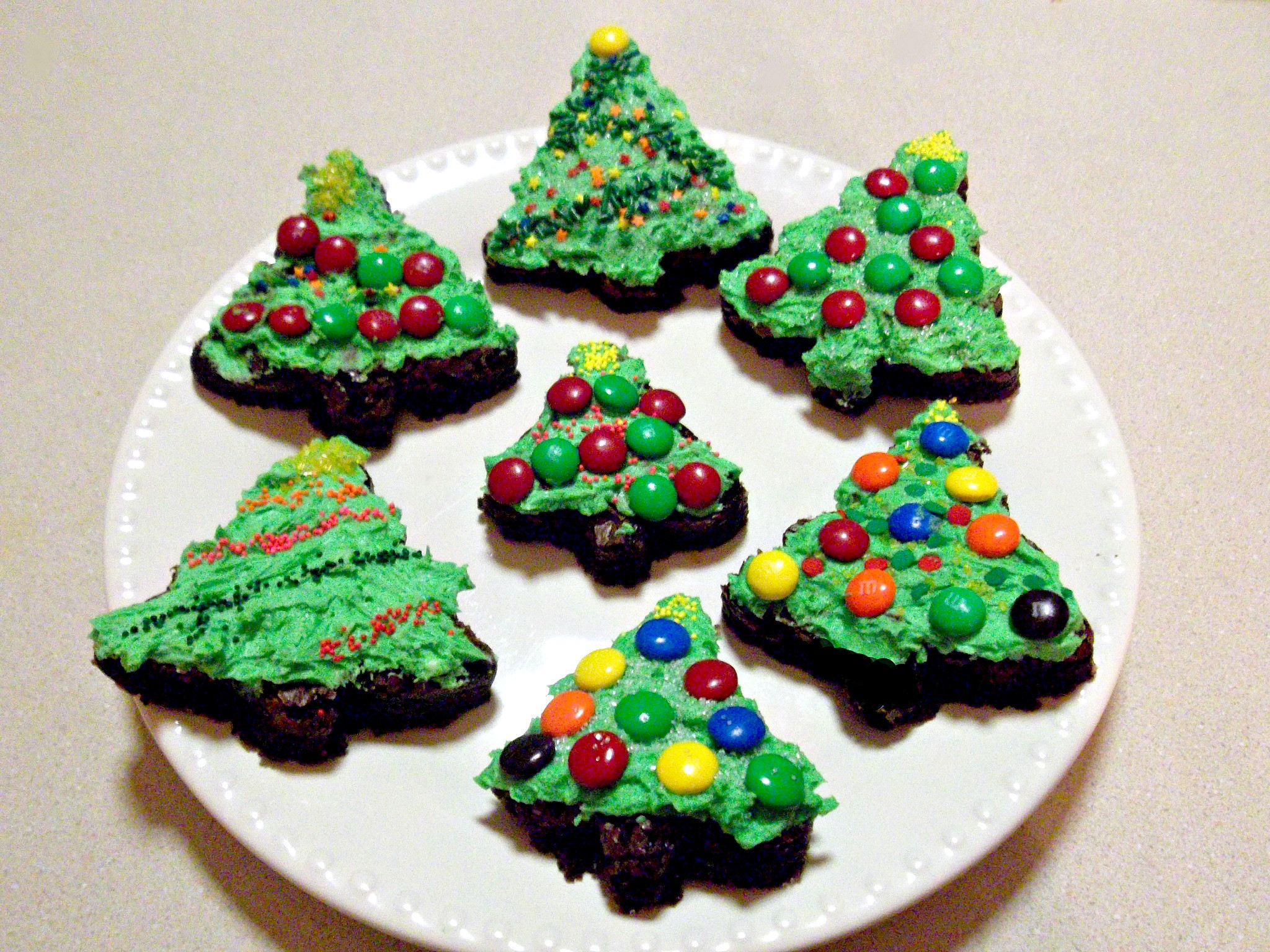 Christmas Tree Brownies  Christmas Tree Brownies with Buttercream Frosting Love