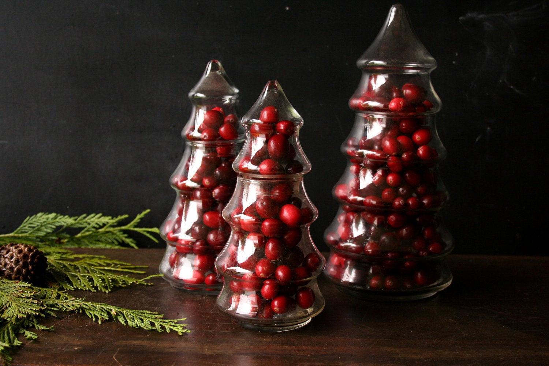 Christmas Tree Candy Jars  Three Glass Pine Tree Candy Jar Christmas Centerpiece From