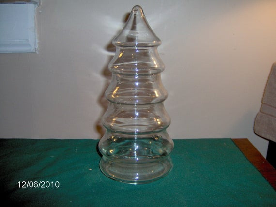 Christmas Tree Candy Jars  Glass Christmas Tree Candy Jar by thefunnybunny on Etsy