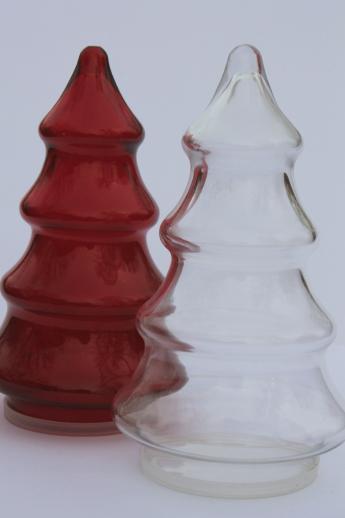 Christmas Tree Candy Jars  vintage glass candy jars Christmas tree shape red & clear