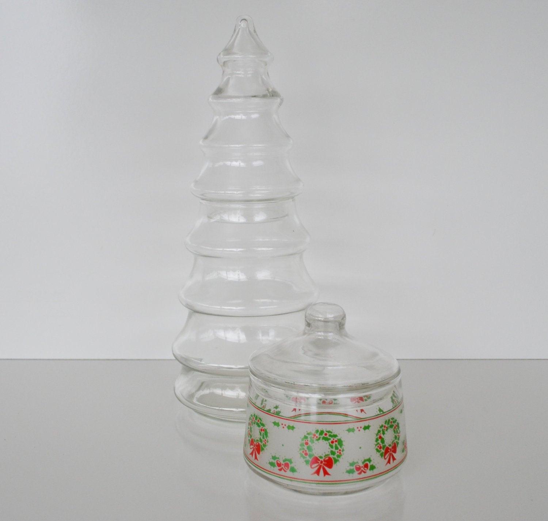 Christmas Tree Candy Jars  Vintage Christmas Tree Apothecary Jars Candy Jars Christmas