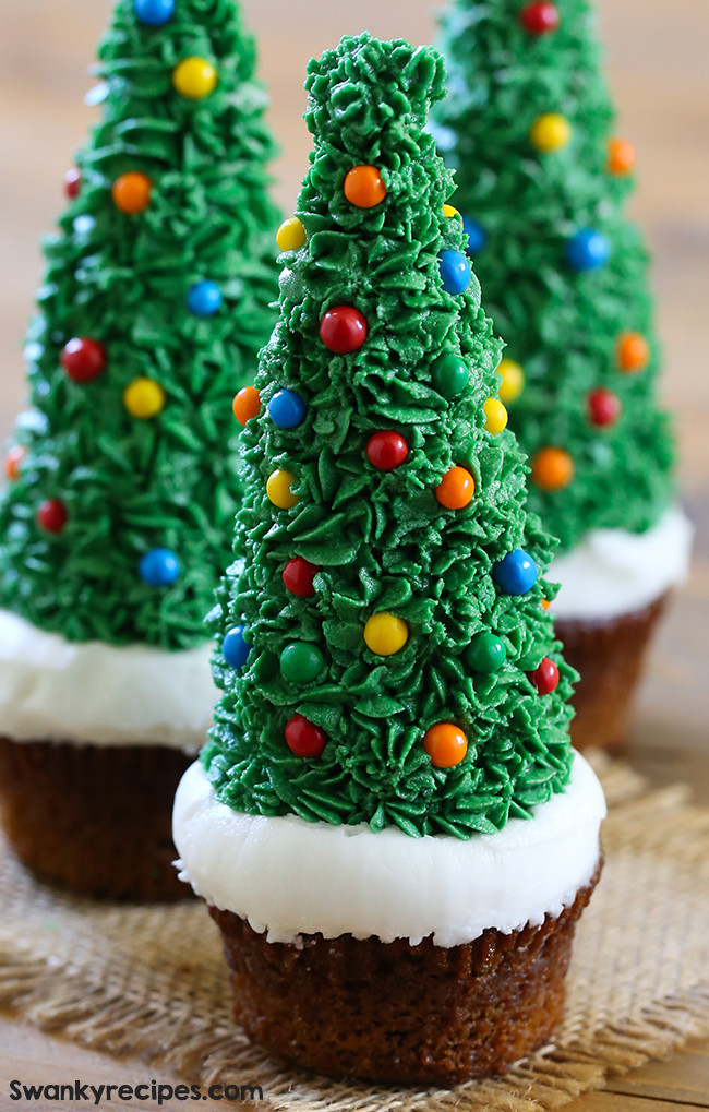 Christmas Tree Cupcakes  Easy Gingerbread Christmas Tree Cupcakes Swanky Recipes