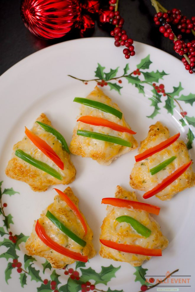 Christmas Tree Shaped Appetizers  Easy Cheesy Christmas Tree Shaped Appetizers An Alli Event