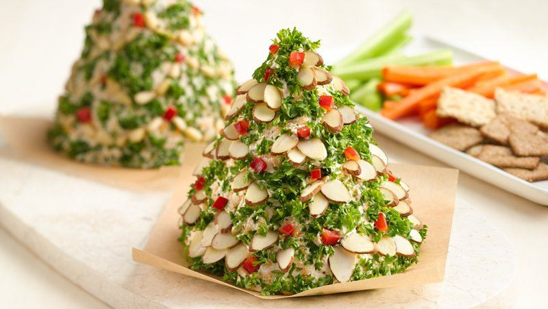 Christmas Tree Shaped Appetizers  Holiday Tree Shaped Cheese Ball recipe from Betty Crocker