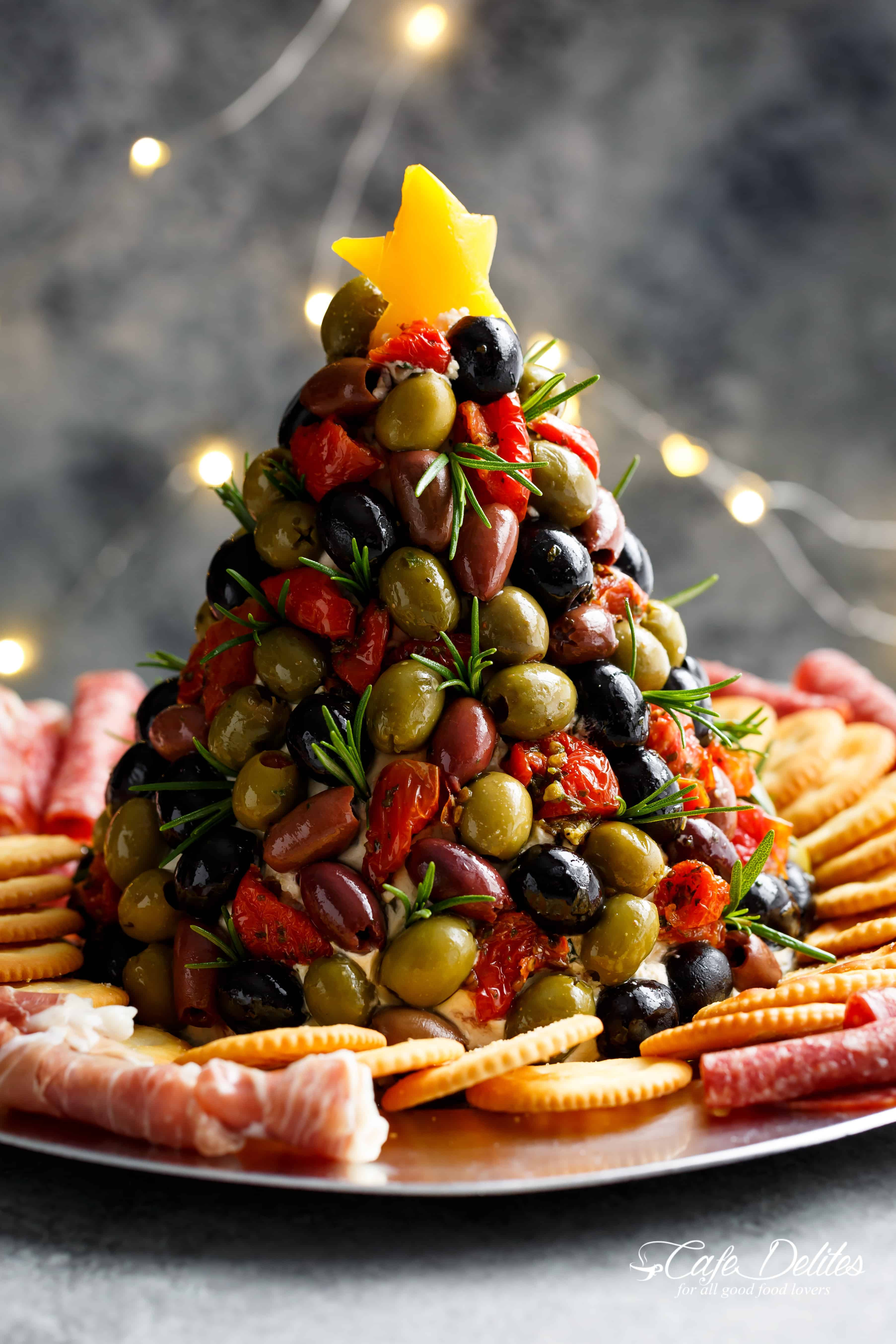 Christmas Tree Shaped Appetizers  Antipasto Cheese Ball Christmas Tree Cafe Delites