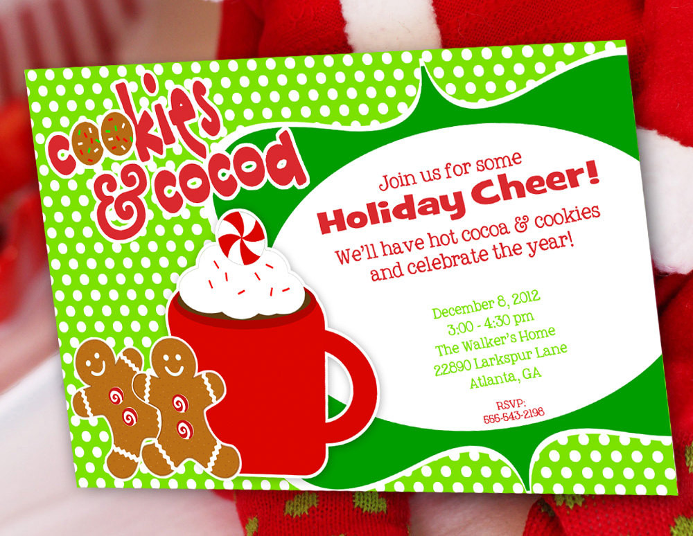 Cookies Christmas Party  Cookies and Cocoa Christmas Party Invitation Gingerbread Man