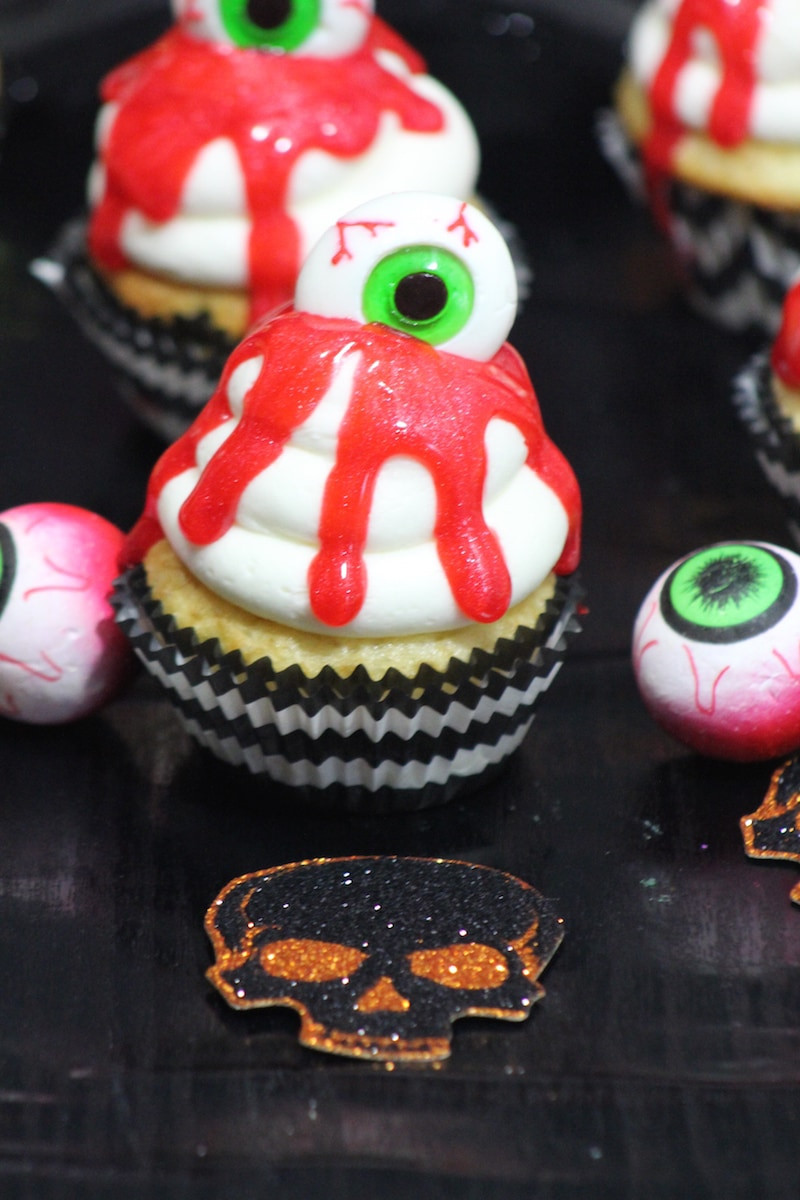 Cool Halloween Cup Cakes  Bleeding Eye Cupcakes Recipe Perfect For Halloween Lady