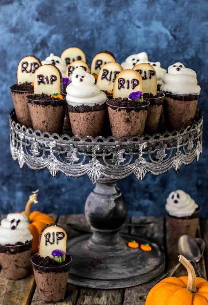 Cool Halloween Desserts  Ghosts in the Graveyard Halloween Dessert Shooters Sugar