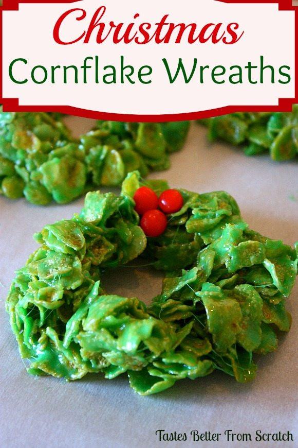 Cornflake Christmas Wreath Cookies With Corn Syrup  Hot Fudge Sauce
