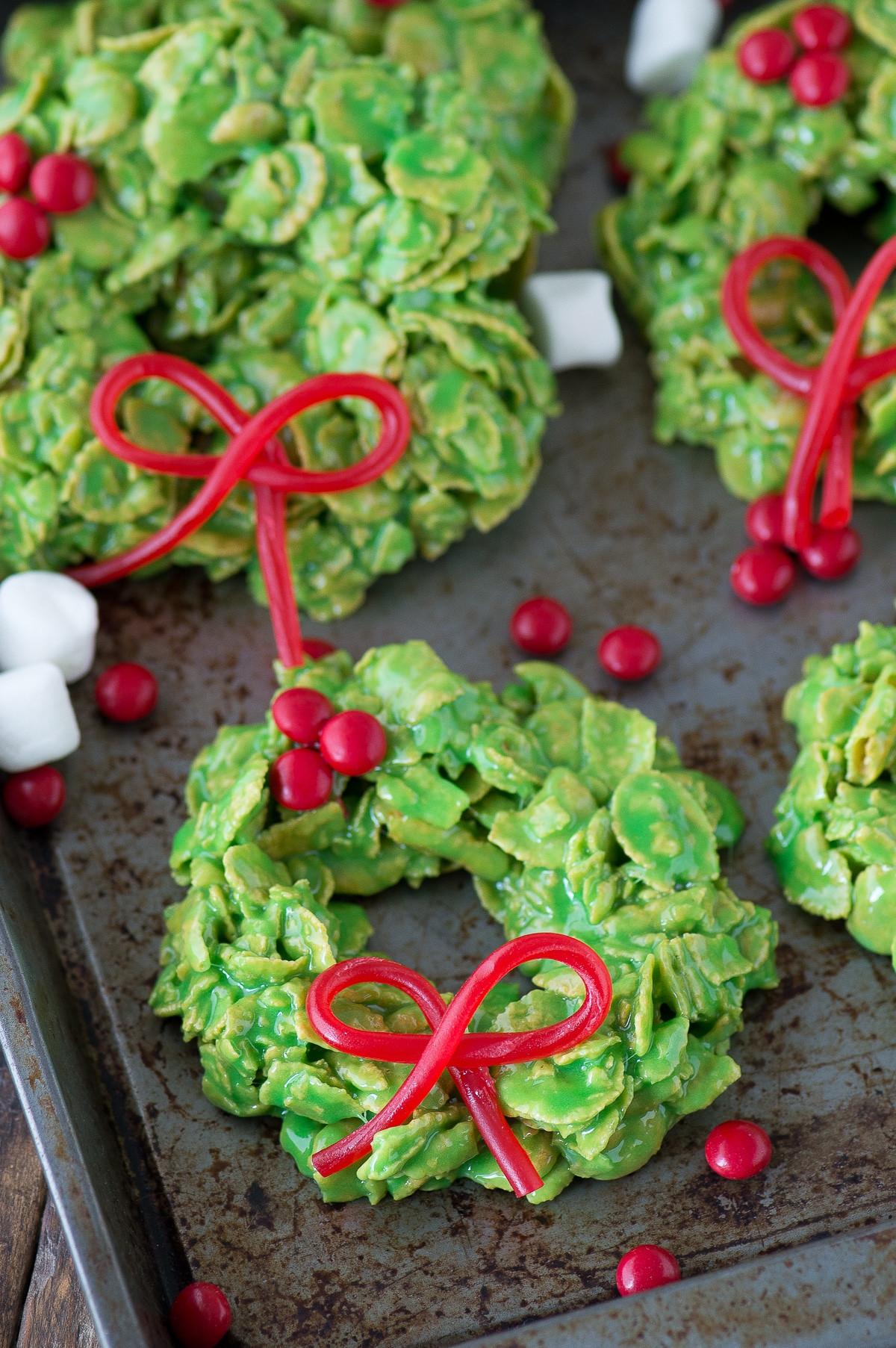 Cornflake Christmas Wreath Cookies With Corn Syrup  Christmas Wreath Cookies