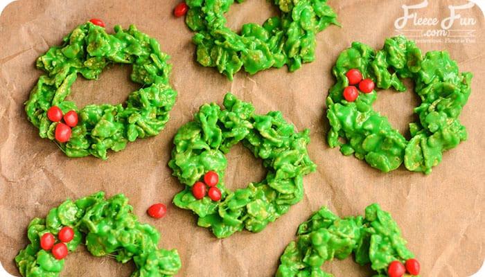 Cornflake Christmas Wreath Cookies With Corn Syrup  No Bake Christmas Wreath Cookies Recipe ♥ Fleece Fun